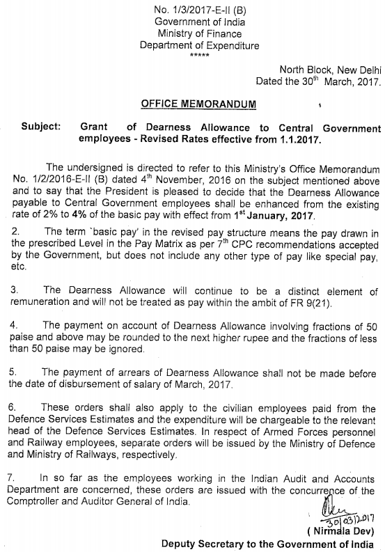 DA Orders for Central Government employees w.e.f. 1.1.2017
